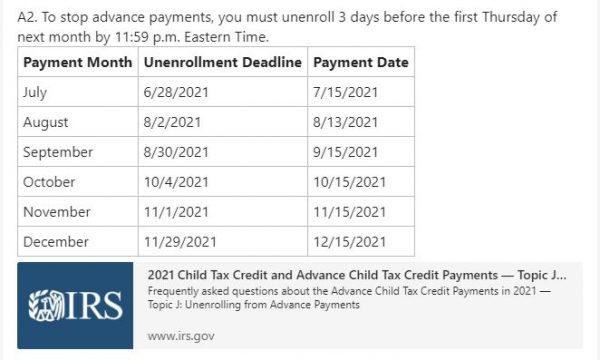 Child tax credit IRS schedule